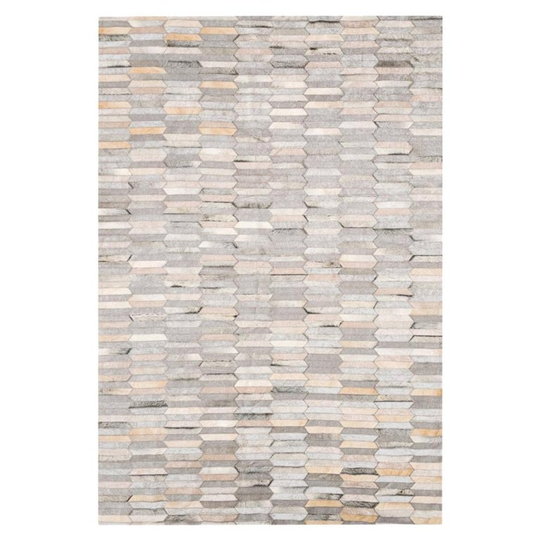 Gray and white customizable Olio Cowhide and Viscose Area Floor Rug Large For Sale