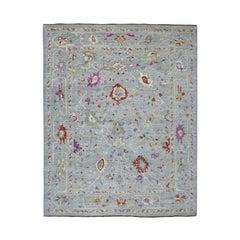 Gray Angora Oushak Soft Velvety Wool Hand Knotted Oriental Rug