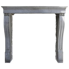 Gray Antique Fireplace of Marble Stone, Campagnarde Style, 19th Century