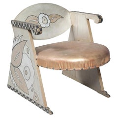 Gray, Black and White Painted Wood and Leather Upholstered Child's or Doll Chair