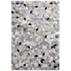 Gray, Black Caramel Dedalo Cowhide and Viscose Customizable Area Floor Rug Large