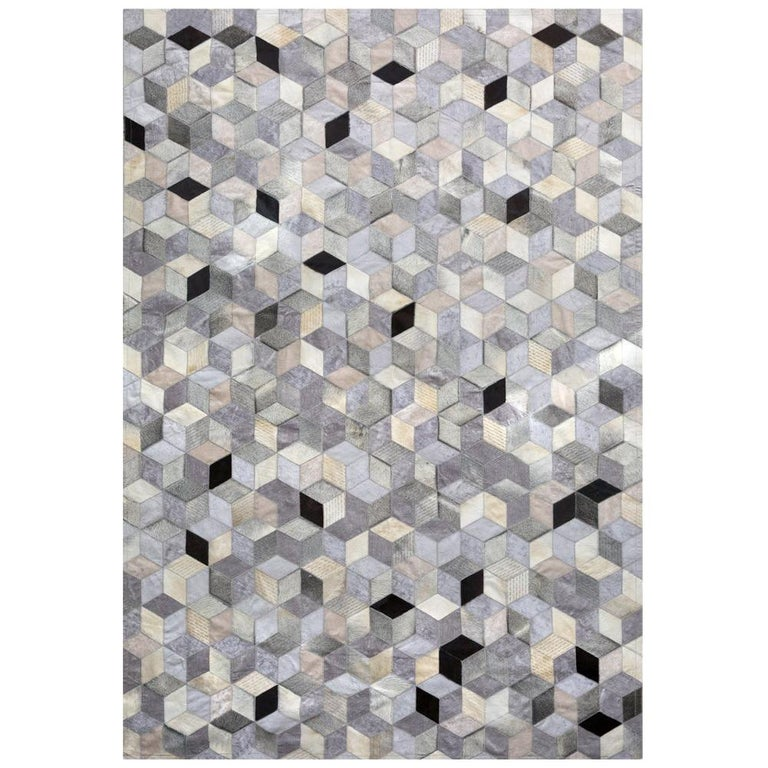 Gray, Black Caramel Dedalo Cowhide and Viscose Customizable Area Floor Rug Large For Sale