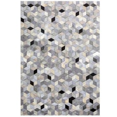 Gray, Black Caramel Dedalo Cowhide & Viscose Customizable Area Floor Rug