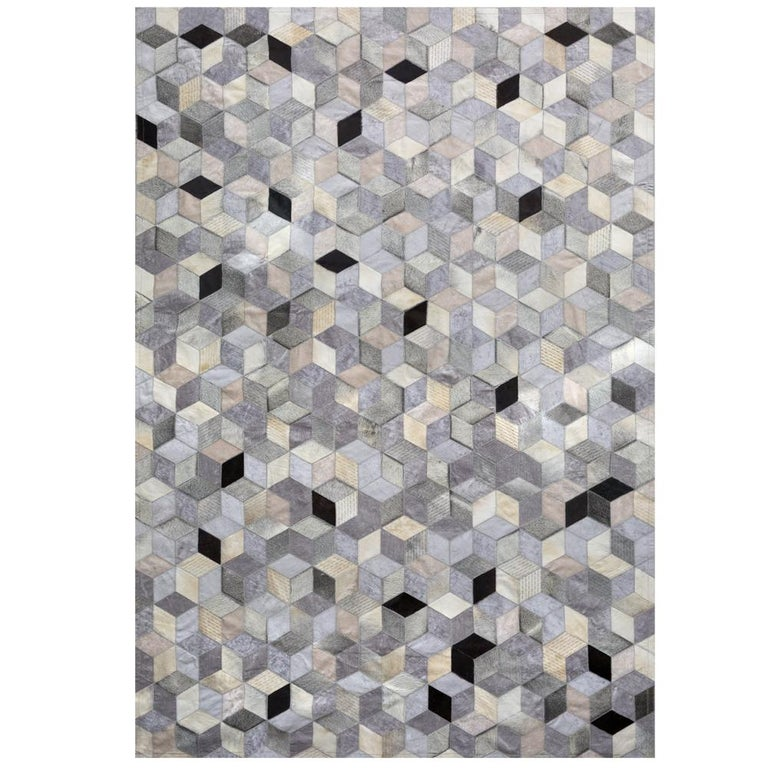 Pakistani Gray, Black Caramel Dedalo Cowhide and Viscose Customizable Area Floor Rug Large For Sale