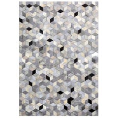 Gray, Black Caramel Dedalo Cowhide & Viscose Customizable Area Floor Rug X-Large