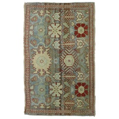 Gray Blue 20th Century Antique Persian Oriental Rug Mat Size Rug