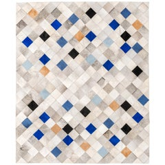 Gray, Blue and Caramel Falling Squares Cowhide Area Floor Rug X-Large