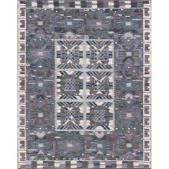 Gray, Blue and Charcoal Scandinavian Flat-Weave Rug with Modern Design