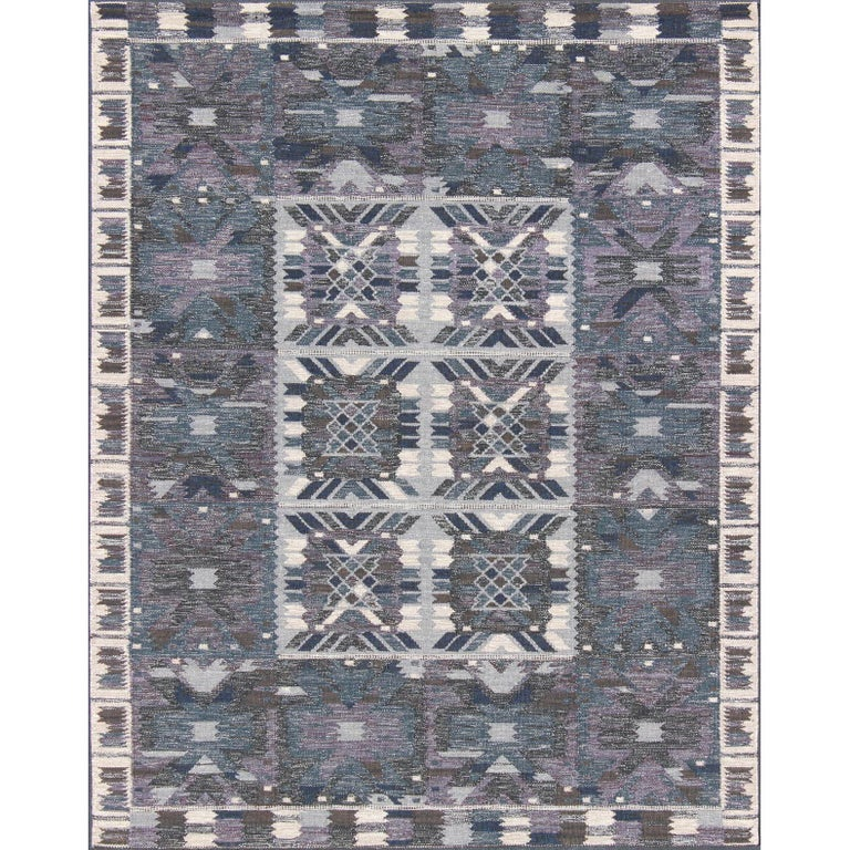 Gray Blue And Charcoal Scandinavian Flat Weave Rug With Modern