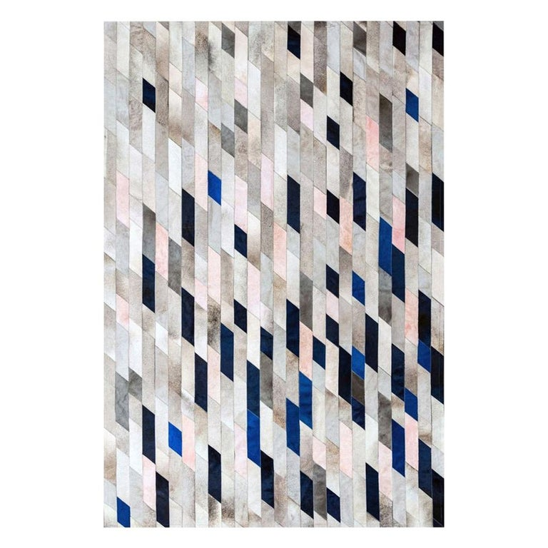 Gray blue and pink Customizable Astila Cowhide Area Floor Rug Large For Sale