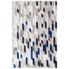 Gray blue and pink Customizable Astila Cowhide Area Floor Rug X-Large