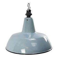 Gray Blue Enamel Vintage Industrial Pendant Light