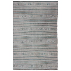 Gray, Blue Green, Taupe, and Camel Vintage Turkish Kilim with Geometric
