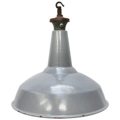 Gray British Enamel Vintage Industrial Pendant Lamp