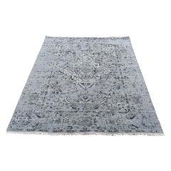 "Gray Broken Persian Erased Design Silk W/ Oxidized Wool Textured Rug, 4'1""x5'10"""