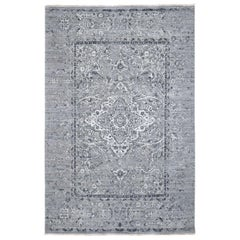 Gray Broken Persian Erased Design Silk with Textured Wool Hand Knotted Oriental