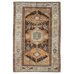 Gray, Brown, and Apricot Layered Tribal Medallion Antique Persian Hamedan Rug