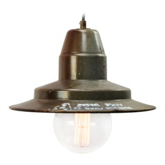 Gray Brown Enamel Vintage Industrial Factory Hanging Light Pendant