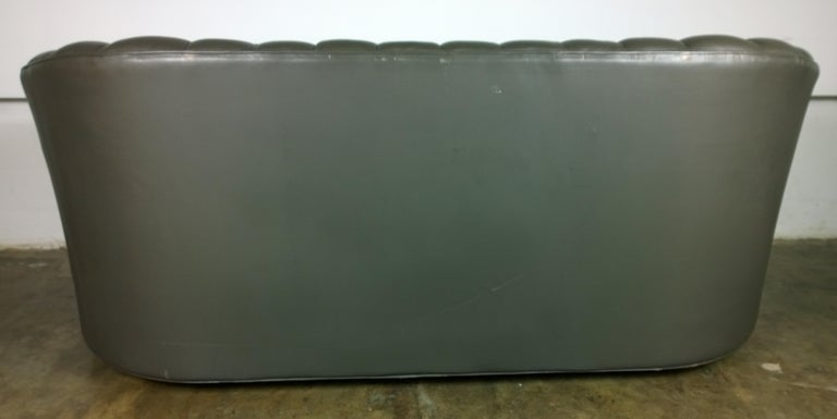 Mid-Century Modern Weathered Gray Brown Leather Channel Back Two Cushion Loveseat or Sofa For Sale