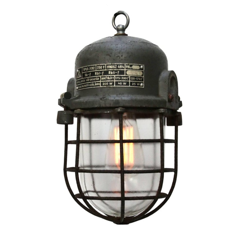 Gray Cast Aluminium Vintage European Industrial Cage Clear Glass Lamps (12x)
