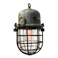 Gray Cast Aluminum Vintage European Industrial Cage Clear Glass Lamp