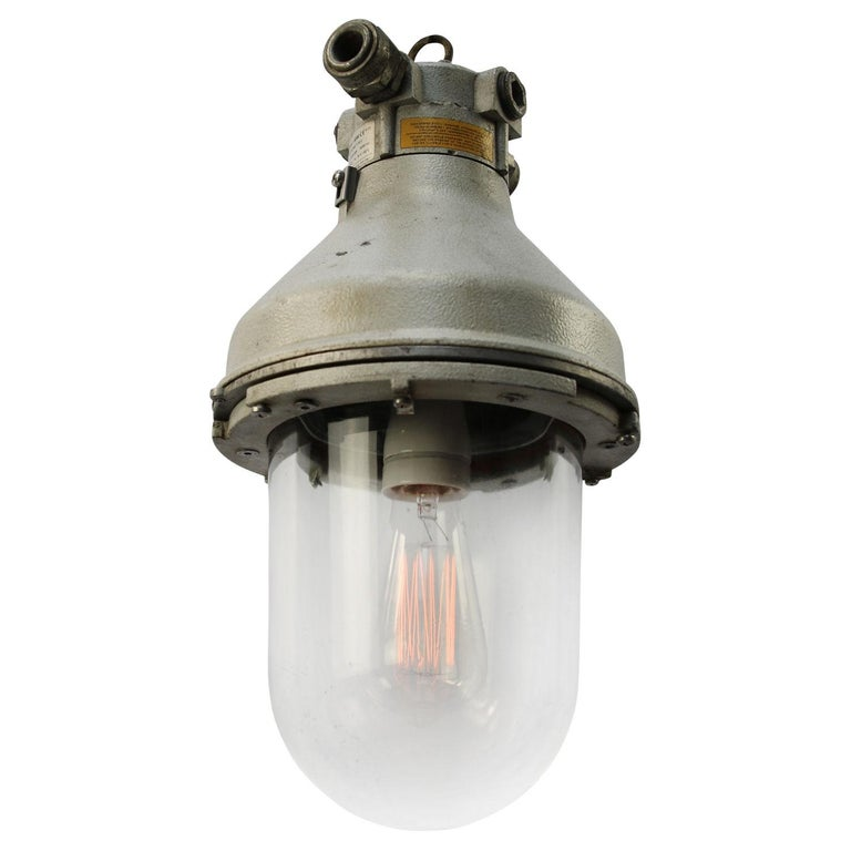 Italian Gray Cast Aluminum Vintage Industrial Clear Glass Hanging Pendant Lamp For Sale