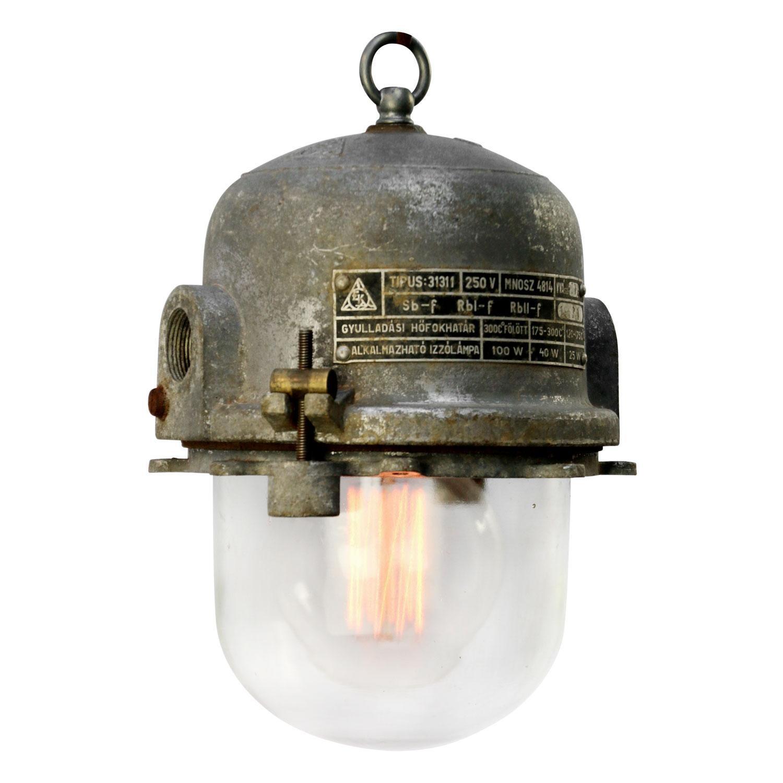 Gray Cast Aluminum Vintage Industrial Clear Glass Pendant Lamp