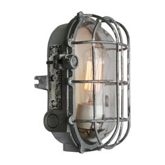 Gray Cast Aluminum Vintage Industrial Clear Glass Wall Lamp Scone