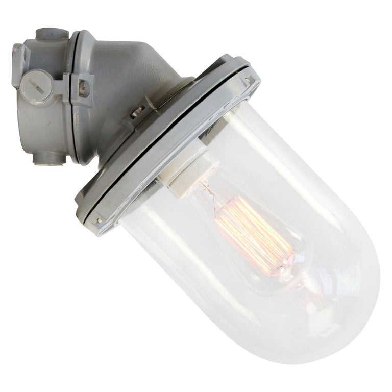 Gray Cast Aluminum Vintage Industrial Clear Glass Wall Lamps For Sale