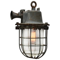 Gray Cast Iron Vintage Industrial Clear Glass Pendant Lamp