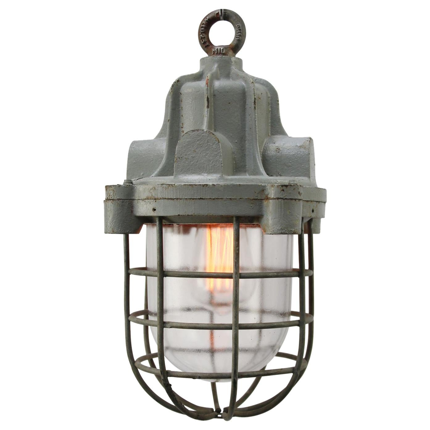 Gray Cast Iron Vintage Industrial Clear Glass Pendant Lamps