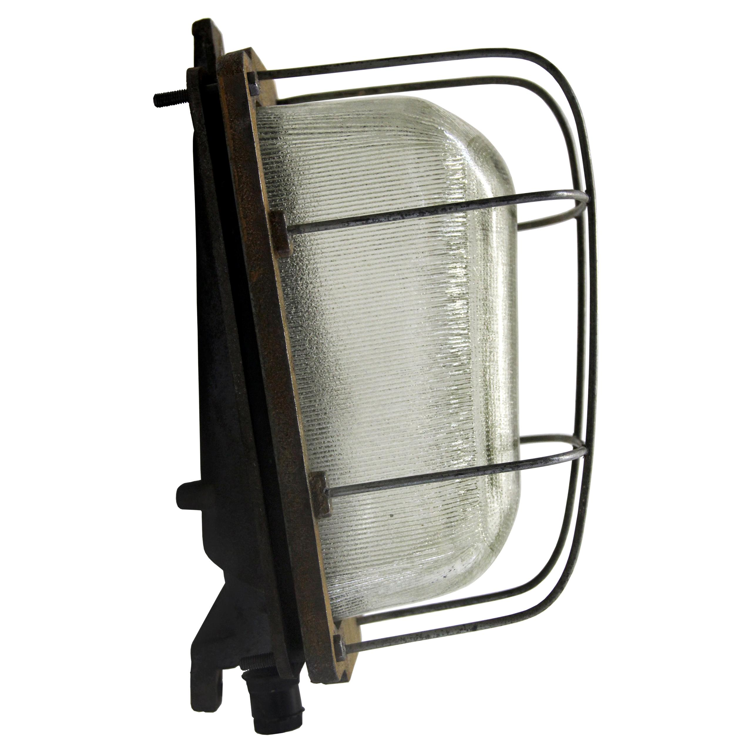 Gray Cast Iron Vintage Industrial Holophane Glass Wall Lamps Scones