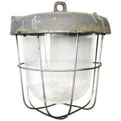 Gray Cast Iron Vintage Industrial Striped Holophane Glass Hanging Lamps