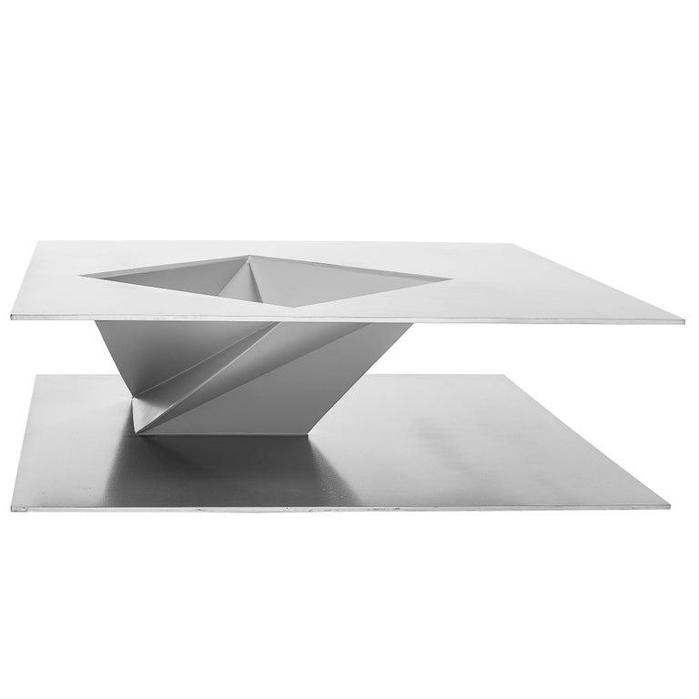 Gray Centre Table in Painted Aluminium, Minimalist Brazilian Design
