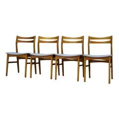 Gray Chairs Retro Danish Design Beech Vintage Classic, 1960s
