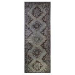 Gray Color Over-Dyed Vintage Turkish Runner, Handmade Rug for Hallway