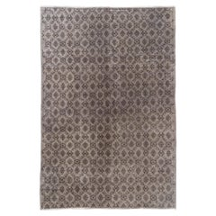 7x10 Ft Vintage Hand-knotted Turkish Area Rug Over-dyed in Gray