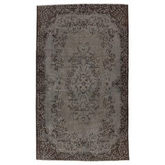 4x7 ft Vintage Handmade Turkish Rug Over-dyed in Gray