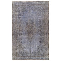 6.6x10.2 Ft Vintage Handmade Turkish Wool Rug Over-dyed in Blue