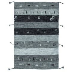 Gray Contemporary Flat-Weave Rug