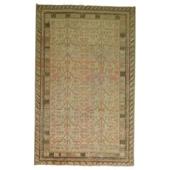 Gray Coral Antique Khotan Pomegranate Early 20th Century Rug