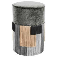 Gray Couture Geometric Stripe Pouf