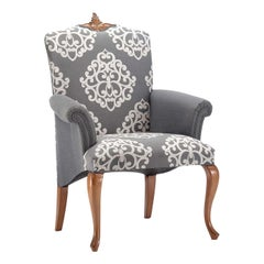 Gray Damask Chair with Armrests
