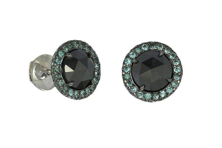 Contemporary Gray Diamond and Paraiba Tourmaline Halo Stud Earrings For Sale