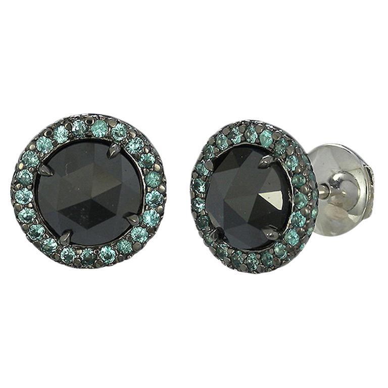 Gray Diamond and Paraiba Tourmaline Halo Stud Earrings For Sale