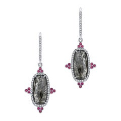 Gray Diamond Slice and Ruby Earrings with Diamond Pave in 18k Matte White Gold