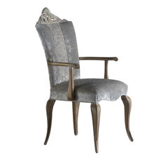 Gray Dining Chair with Armrests