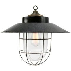 Gray Enamel Vintage Industrial Bakelite Brass Top Clear Glass Pendant Lights