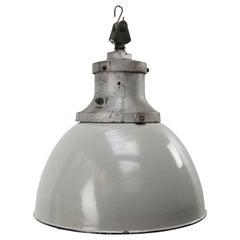 Gray Enamel Vintage Industrial Cast Iron Pendant Light by Industria Rotterdam