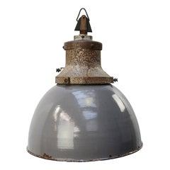 Gray Enamel Vintage Industrial Cast Iron Pendants Light by Industria Rotterdam